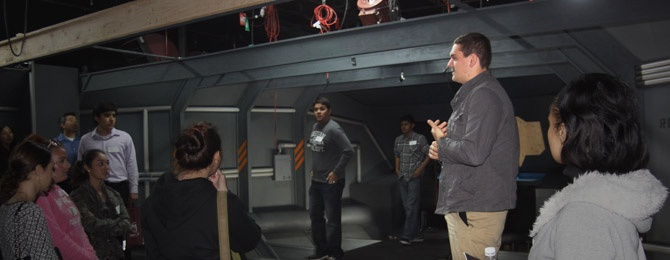 Students touring a soundstage